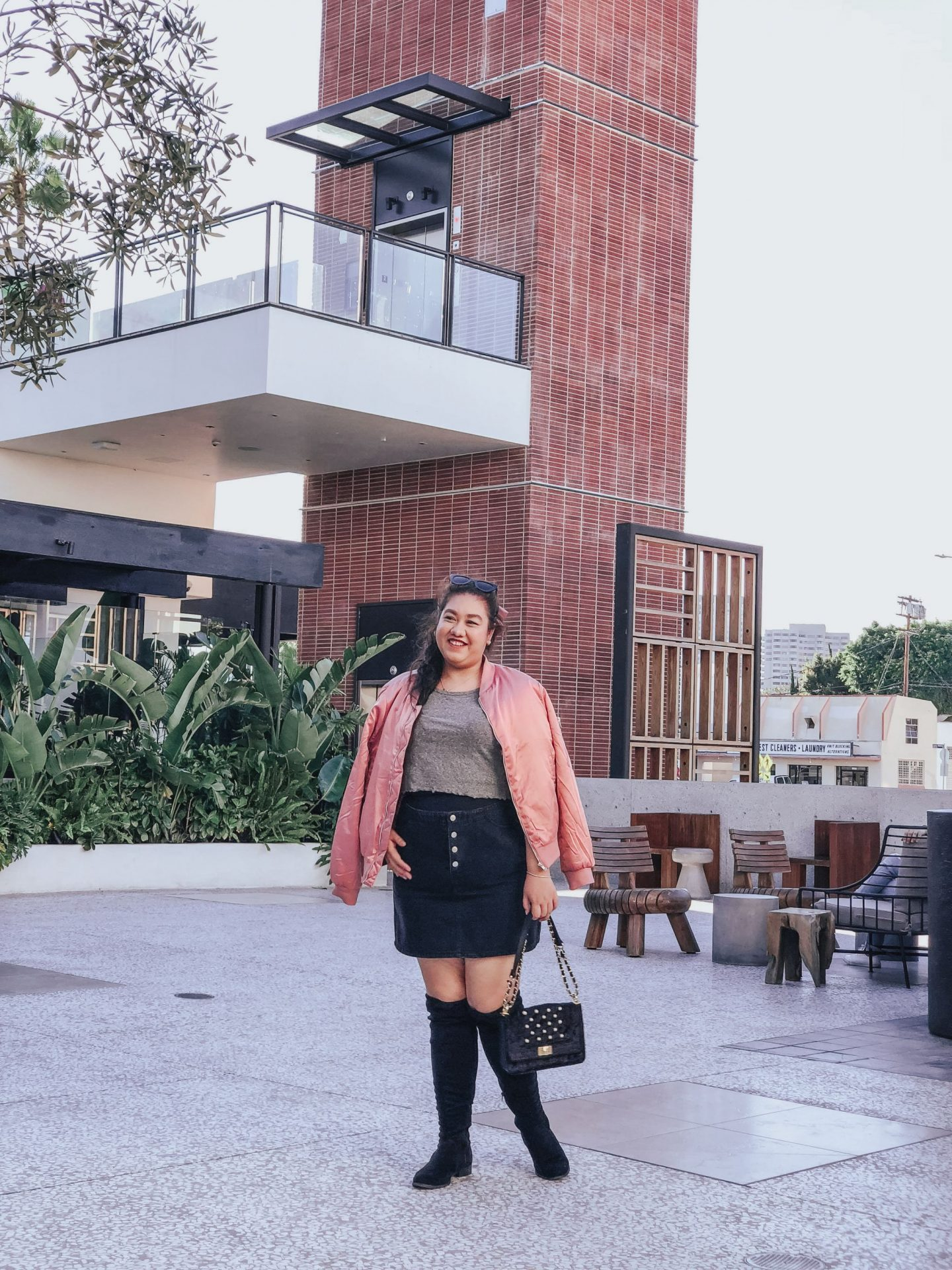 How To Wear a Pink Satin Bomber Jacket For Fall