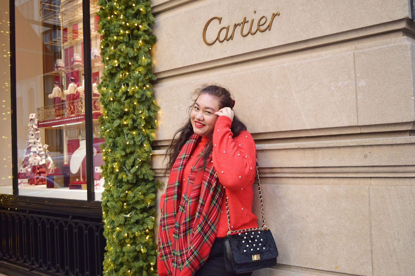 Holiday Red Outfit For Christmas in New York
